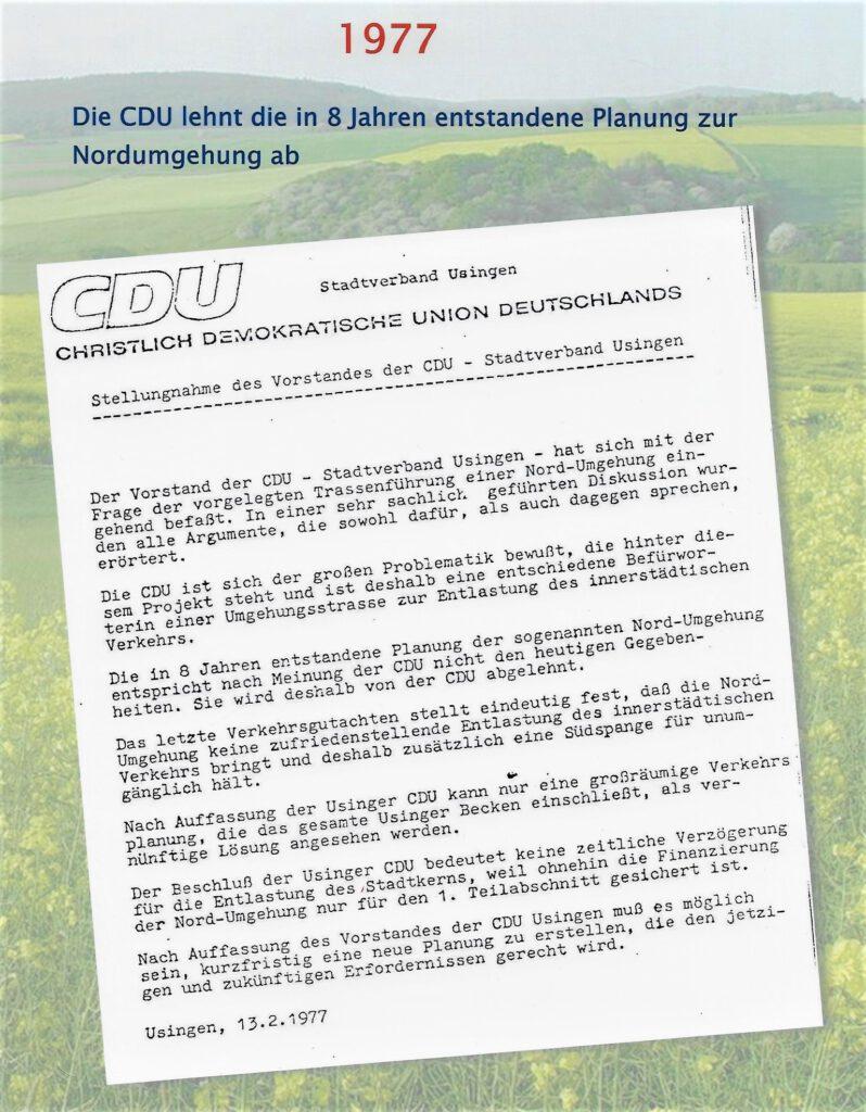 CDU 1977 zur Nordumgehung